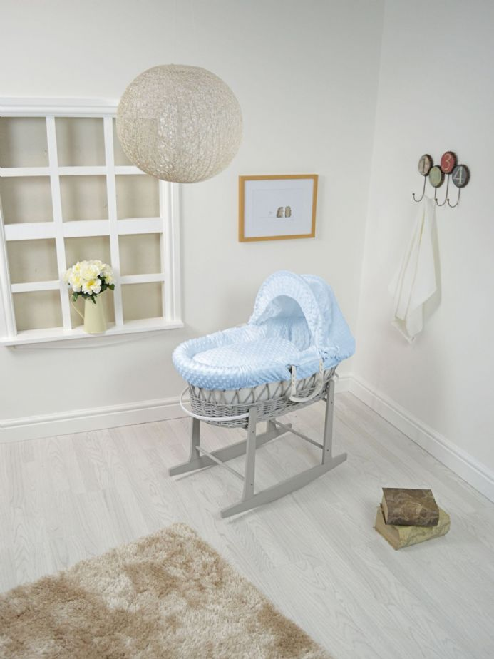 Grey Wicker Dimple Lined Moses Basket
